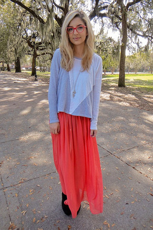 salmon American Apparel skirt - white C&C California shirt