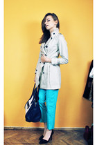 aquamarine asos pants - beige Cubus coat - navy Mizensa bag - black Zara heels