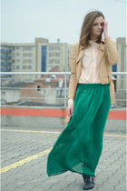 green chiffon no name skirt - beige pu leather Cubus jacket