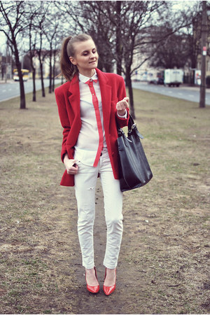 off white Primark shirt - ruby red vintage blazer - black leather no name bag
