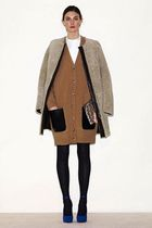 brown Celine cardigan - brown Celine coat - blue Celine shoes - white Celine t-s