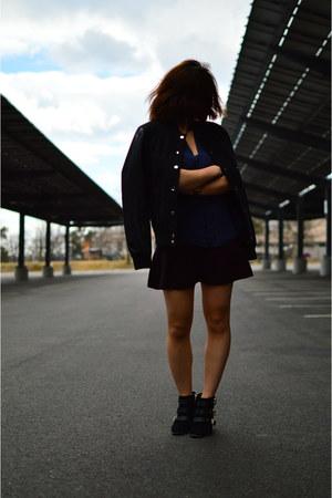 sam edelman boots - Forever 21 jacket - Joie blouse - Aritzia skirt
