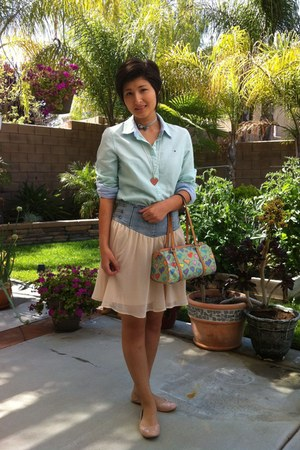 green Dooney and Burke bag - green Tommy Hilfiger blouse