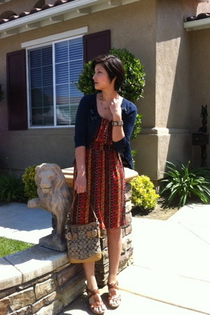 Lucky Brand dress - coach bag - born wedges - hollister cardigan