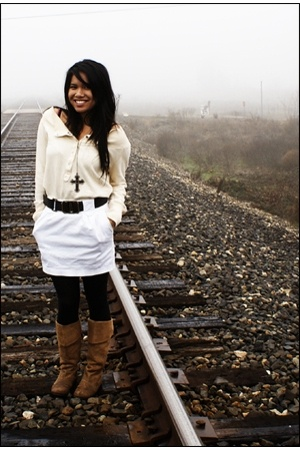 sweater - necklace - skirt - - boots