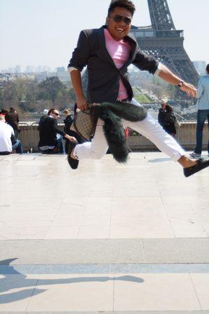 gray blazer - pink t-shirt - white pants - black shoes