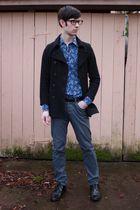 black Old Navy jacket - blue thrifted shirt - black thrifted belt - gray H&M pan