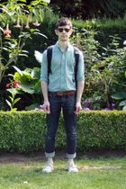 green thrifted shirt - brown thrifted belt - blue Urban Outfitters jeans - gray