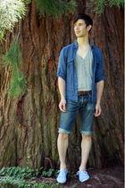 blue H&M shirt - gray H&M shirt - brown thrifted belt - blue The good society je