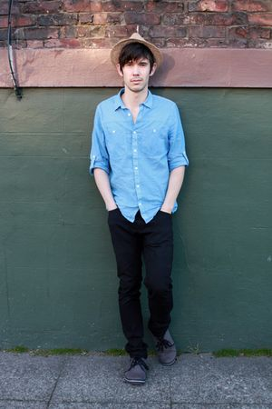 beige H&M hat - blue H&M shirt - black American Apparel jeans - gray Urban Outfi