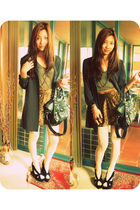 black Jeffrey Campbell shoes - brown vintage skirt - green Sportsgirl shirt - gr