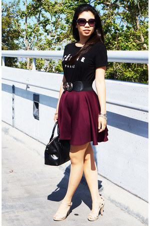 maroon Boohoo skirt - black kate spade bag - black Michael Kors sunglasses
