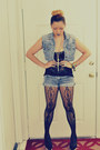 Silver-shorts-black-laced-tank-top-top-silver-vest