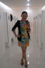 Floral-print-dao-design-dress-open-toe-girlie-shoes-cotton-kwan-blazer