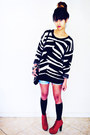 Black-sweater-black-knee-high-socks-mossimo-socks-red-heels