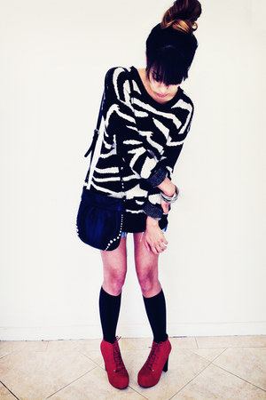 black sweater - black knee high socks Mossimo socks - red heels