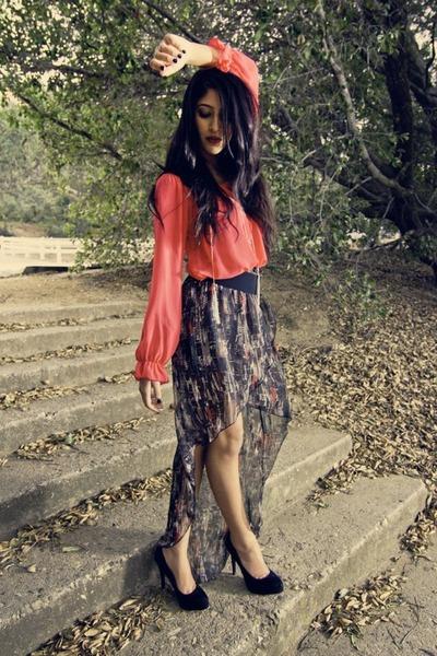 blue The Boutique skirt - red The Boutique blouse - black The Boutique heels
