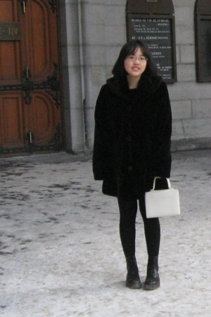 London Fog coat - doc martens boots - vintage purse