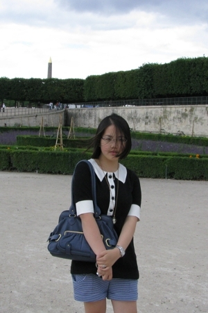 f21 top - H&M shorts - purse - etcetera necklace
