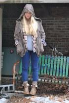 light brown Nine West boots - army green blue bird jacket - flannel BDG shirt -