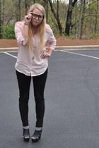light pink Anthropologie shirt - black skinnies BDG for UO pants
