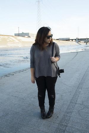 maison martin margiela boots - Zara jeans - H&M sweater