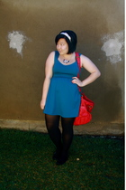blue Urban Outfitters dress - red Urban Outfitters purse - black Target tights -