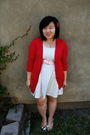 Red-zara-cardigan-white-forever-21-dress-forever-21-shoes-pink-gap-belt-