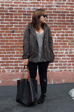 Zara jacket - Dolce Vita boots - Zara jeans - transport tote madewell bag