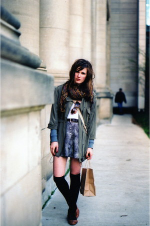 black knee highs American Apparel socks - army green silk Club Monaco jacket