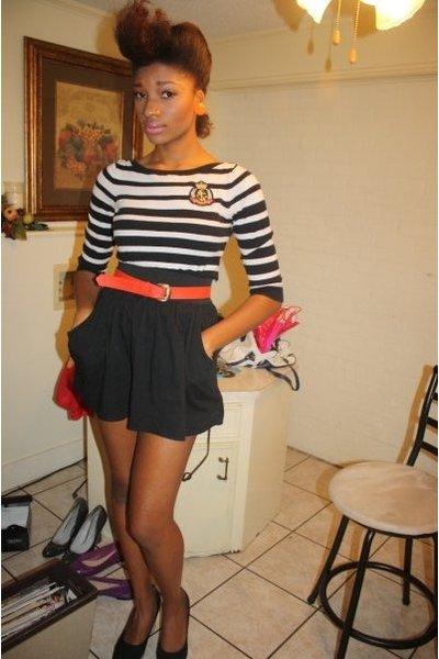 Forever21 sweater - rainbow skirt - thrift  store belt