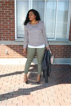 Forever21 jacket - Buffalo sweater - BCBG bag - Target pants - Aldo heels