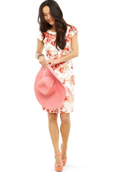 cream floral sheath liz claiborne dress - pink JCPenney hat