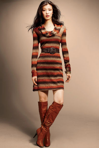 Dark Brown Over The Knee Worthington Boots Tawny Cowl Neck Jump
