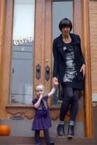black chiffon MNG by Mango dress - deep purple ruffle American Living dress