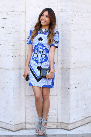 print asos dress - clutch Yves Saint Laurent bag - statement JCrew necklace