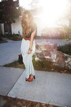 bronze dany platform Jessica Simpson heels - aquamarine Forever 21 dress