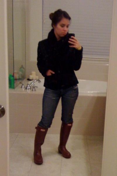 Red Hunter Boots, Blue Diesel Jeans, Black Old Navy Jackets, Black ...