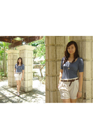 Zara blouse - Zara shorts - Charles and Keith