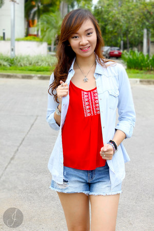 navy Zara shorts - red ziya top