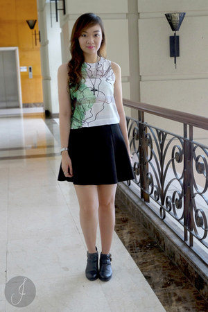 white Zara top - black Topshop skirt