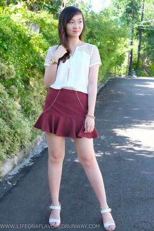 white Promod blouse - maroon Forever 21 skirt - white Charles & Keith heels