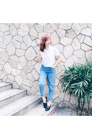 white crop top Bershka shirt - navy moto mom jeans Topshop pants