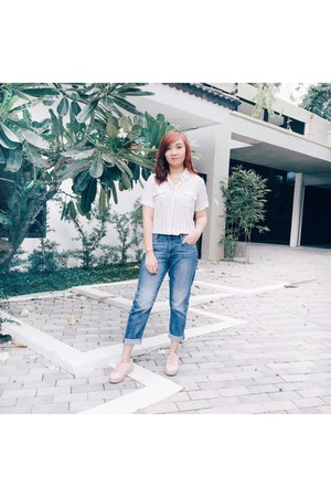 light pink H&M shoes - Uniqlo jeans - white blouse