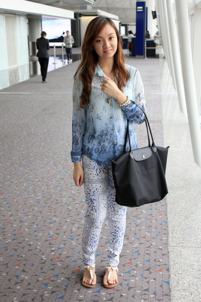 0d9f72c3b583 blue ombre Sunny Side Up blouse - black longchamp bag - white Forever 21  flats