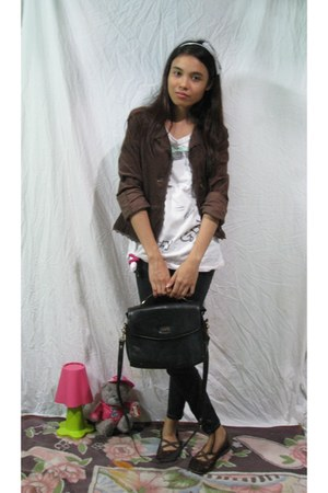 black satchi bag - dark brown thrifted vintage blazer - dark brown casual & cool
