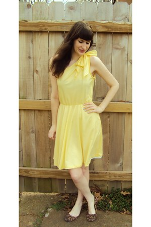 yellow vintage dress - brown Target flats