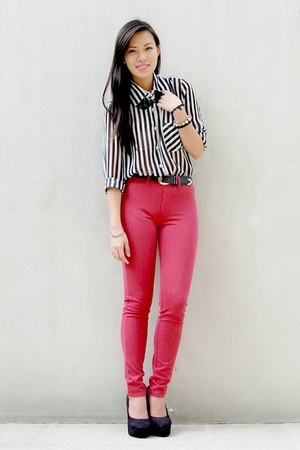 red Uniqlo pants - black Summersault wedges