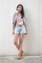 light blue denim Forever 21 shorts - heather gray blazer