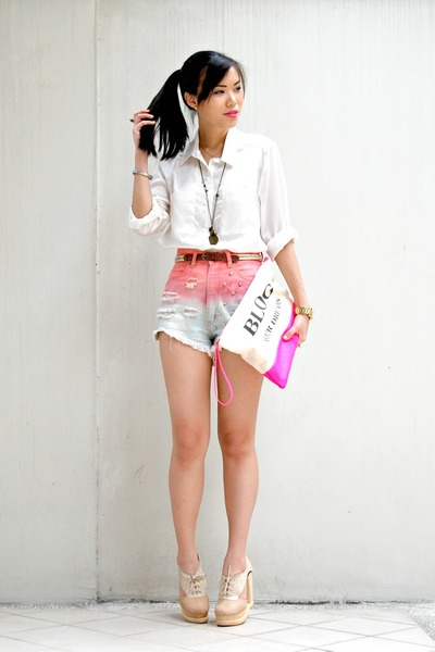 white oversized silk H&M blouse